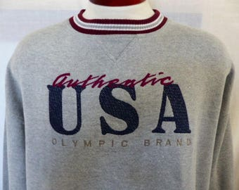 go Team U.S.A. vintage 90's Authentic USA Olympics Brand heather grey pique knit fleece graphic sweatshirt red blue gray embroidered logo XL