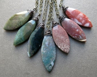 Long Stone Necklace - Moss Agate Necklace - Boho Layering Necklace - Stone Talisman Necklace - Healing Stone Jewelry- Bohemian Agate Pendant
