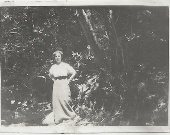 Old Photo Woman wearing Long Skirt in Woods 1910s Photograph Snapshot vintage
