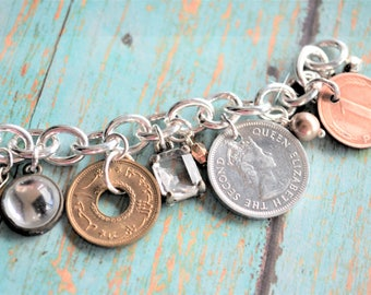 Coin Bracelet, Foreign Coins, Foreign Currency, Coin Necklace, Coin Jewelry, Travel Journal, Vacation, Vintage Charms, Vintage Jewelry