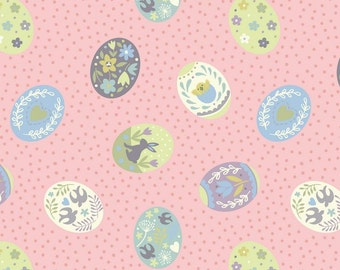Fat Quarter Salisbury Spring Painted Eggs on Pink 100% Cotton Quilting Fabric