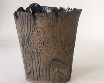 Handmade Blue Faux Bois Ceramic Fan Vase / Wood Grain Rustic Handmade Vase