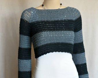 Cropped Crochet Sweater, Black Sweater, Gray Sweater, Crochet Pullover, Stripped sweater, Cropped Pullover, Women Clothing