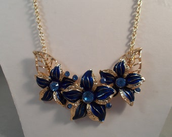 Gold Tone Chain Necklace with Blue, Gold and Blue Rhinestone Flower Pendants