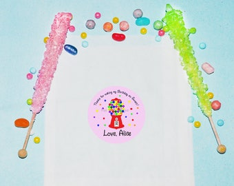 Gumball Birthday Favor Bags, Personalized Treat Bags, Candy Birthday Party Favors, Gumball Party Bags, Treat Favor Bags