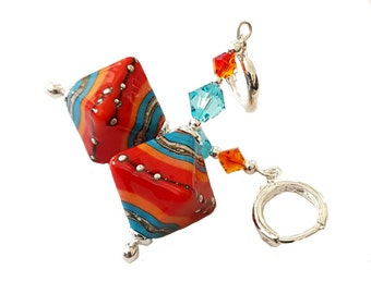 Fire and Ice lampwork bead earrings, red, orange, aqua, and silver, turquoise and fire orange Swarovski crystal, Sterling Silver Euro hoops