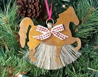 Rustic Primitive Rusty Tin Cutout Horse Horsehair Tassel Christmas Holiday Ornament