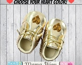 SALE Gold Baby Shoes, Gold Baby Moccasins, Gold Baby Booties, Crib Shoes, Baby Accessories, Baby Clothes, Baby Clothing, Customize Heart Col