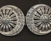 Vintage Silvertone & Rhinestones Two Piece Buckle Crescent Moons Sunburst