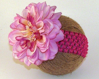Pink Dahlia Flower Headband Newborn Infant Baby Toddler Girl Teen Adult Photo Photography Studio Prop Props