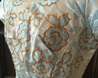 50s 60s Blue Satin Brocade Party dress with gold embellished Roses