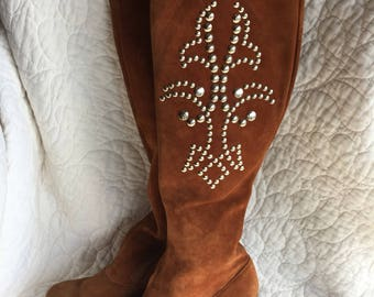 60s Thin Suede Metal Embellished knee boots