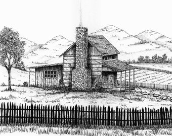 Log cabin print, country, cabin, landscape, cabins, pen and ink, stone chimney, old cabin, original Pen and Ink