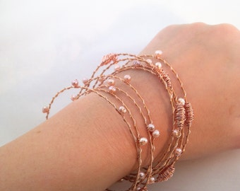 Rose Gold, Guitar String Jewelry- Rose Gold/Pink Pearl Bangles- Recycled GuitarStrings-Freshwater Pearls-Pretty in Pink-Blush Crush
