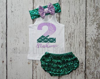 Personalized 2nd  Birthday Mermaid themed Tank top- Mermaid second birthday girl- 2 Birthday girl Outfit- Baby two birthday- Mermaid shirt