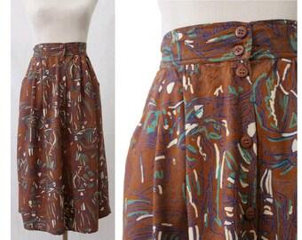 1980 french printed  skirt medium/ 80s french midi skirt