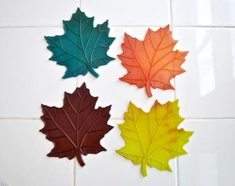 Set of 4  Plastic Fall Maple Leaf Coasters.  Green.  Chartreuse. Brown. Orange. Vintage 1960s Decor. - VD47