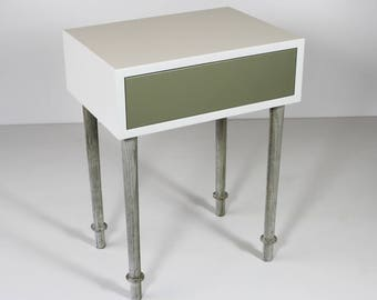 Bedside table with concrete legs