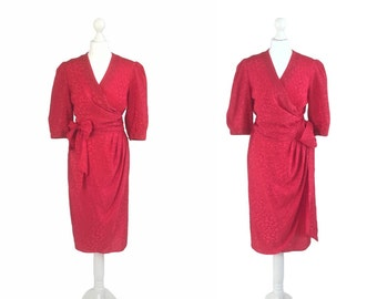 Red Satin Dress - 80's Vintage Dress - Red Dress - Herbe Folle Paris - Silky Wrap Over Dress