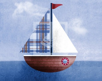 Maritime Nautical Sailboat Wall Art Room Decor Print for Nursey, Big Kid Girl or Boy, Office, Kitchen, Living Room, Bedroom Artwork