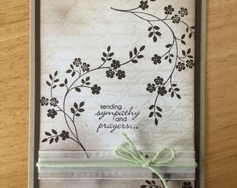 Stampin Up handmade Sympathy card - Sending Sympathy and prayers