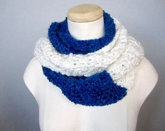 Crochet Royal Blue and White Toronto Maple Leafs, Tampa Bay Lightning, Team Colors Infinity Scarf, Unisex Scarf
