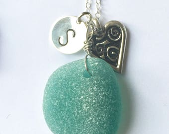 Teal sea glass silver heart charm necklace - personalized sea glass necklace, Mother's Day gift - sterling silver heart and sea glass