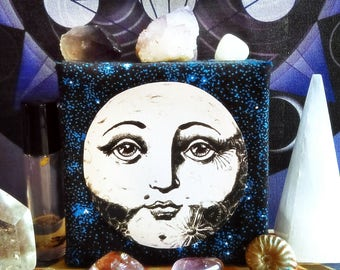 Full Moon Art Collage- Beautiful Luna Moon Face Ready to Hang Collage Art on Space Fabric Canvas - INTUITION DREAMS COMPASSION