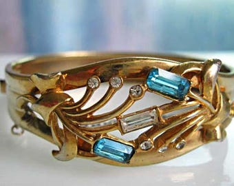 Vintage Hinged Cuff Bracelet, Blue Baguette Rhinestones, Goldtone Abstract Leaf Stems, '50s Designer, Clear Accent Stones