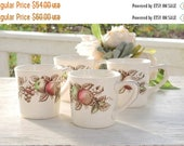On Sale Harvest Time Coffee Mugs Set of 4, Johnson Brothers, Brown Multi Color, Bridesmaid Luncheon, Tea Party