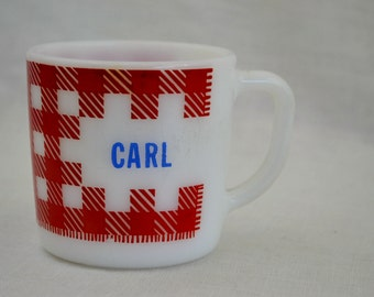 Red Gingham Milk Glass Coffee Mug with name Carl