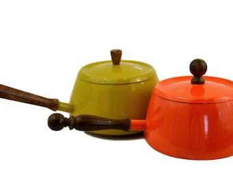 Vintage Fondue Pots, Mid Century Modern Pair of Fondue Sauce Pans, Orange & Yellow Wood Handles, Retro Fondue Party