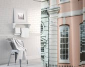 London shower curtain  bathroom decor photography backdrop