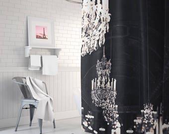 paris chandelier fabric shower curtain bathroom decor