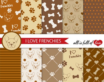 Brown Dog Digital Paper French Bulldog Digital Graphics Frenchie Background Brown Puppy Digital Paper Bone and Paw Patterns to Print 12x12