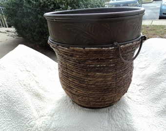 Large woven and brass planter with two handles