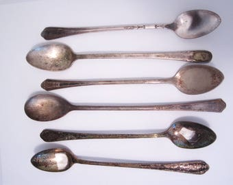 Silverplate Iced Tea Spoons for Crafts, Wind Chimes // Mismatched Silver Plate Utensils // Antique Flatware // Vintage Silverware