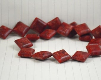 Square Red Sponge Coral Beads --- 18mm --- Red Coral beads --- 18 Beads Full strand