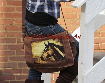 Brown Canvas Messenger Bag Rustic Country Chestnut Horse Cream Tan A807