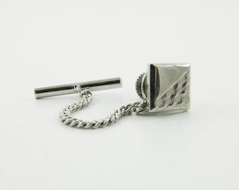 Vintage Silver Lapel Pin with Chain - 010 - Vintage Tie Tack