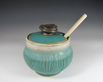 Honey Pot - Honey Jar -Honey Dispenser -Jar Honey -Ceramic Honey Jar -Pottery Honey Jar -HoneyPot - yellow Honey Pot -InStock