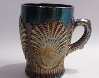 Duncan Glass Company Carnival Glass Cup Mug in Beaded Shell Pattern Circa 1904