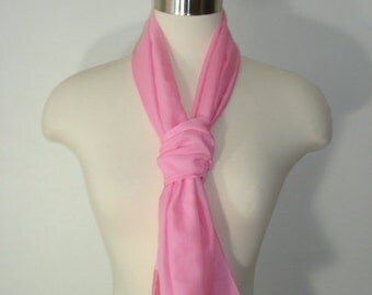 Vintage Pink Long Scarf - Soft Summer Scarves - Womens Accessories 1970s
