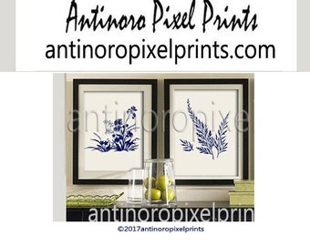 Flower Garden Botanical Print Gallery Set of (2) 12x12 - Art Prints (Featured in Creme Background and Navy) Blue Off White Khaki (Unframed)