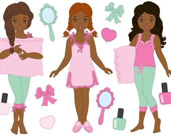 70% OFF SALE Pyjama Girl Clipart - Digital Vector Pyjama, Girl, Slumber, Sleepover, Pajama Clip Art
