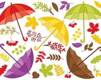 Fall Umbrella Clipart - Digital Vector Autumn, Berry, Leaves, Fall, Umbrella Clip Art