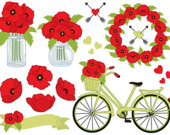 70% OFF SALE Poppies Clipart - Vector Poppies Clipart, Vector Poppy Clipart, Bicycle, Poppy Wreath, Poppy Clipart, Vector Poppies Clip Art