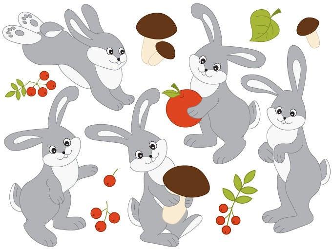 Rabbits Clipart Digital Vector Woodland Mushroom Forest