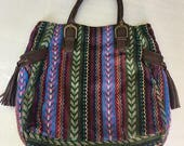 Vintage Cotton Tote with leather accents, multi-color shoulder bag, airline carry on, Boho style