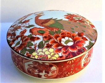 Vintage Japanese Ceramic Bowl with Lid, covered rice serving dish, decorative Asian peacock dresser box, orange floral, gold embellishments